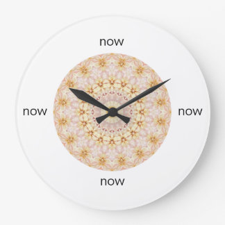 Grande Horloge Ronde Mandala floral rose et jaune magnifique
