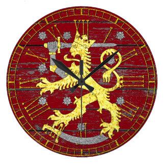 Grande Horloge Ronde Manteau des bras Finlande votre bois de couleur