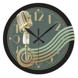 Grande Horloge Ronde Microphone vintage
