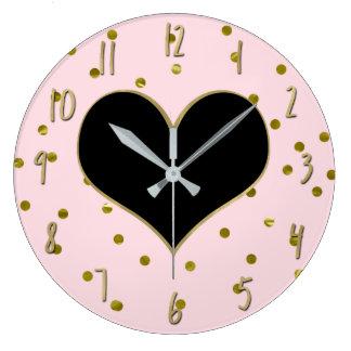 Grande Horloge Ronde Mignon à la mode moderne de pois de rose et de