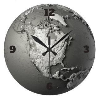 Grande Horloge Ronde Modèle de globe. L'Amérique du Nord
