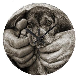 Grande Horloge Ronde Mon art photographique de chiot de beagle d'ami