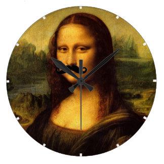 Grande Horloge Ronde Mona Lisa avec la moustache