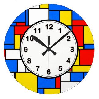 Grande Horloge Ronde Mondrian a inspiré le motif jaune bleu rouge de