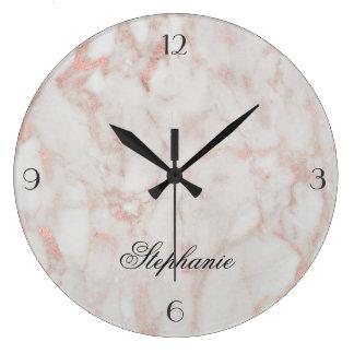 Grande Horloge Ronde Monogramme rose élégant d'or