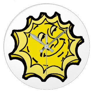 Grande Horloge Ronde Monsieur de sourire heureux Sun