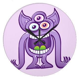 Grande Horloge Ronde monstre étranger Trois-eyed riant malfaisant