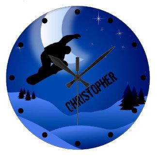 Grande Horloge Ronde Montagne et lune personnalisées de snowboarding de