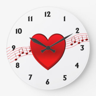 Grande Horloge Ronde Montre d'or de coeur et de musique
