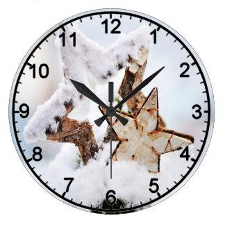 Grande Horloge Ronde motif 022 d'hiver