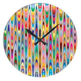 Grande Horloge Ronde Motif abstrait coloré moderne