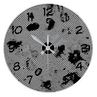 Grande Horloge Ronde Motif abstrait noir et blanc très frais
