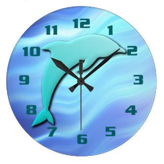 Grande Horloge Ronde Motif bleu sautant de cool d'effet du dauphin 3D