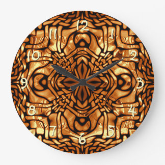 Grande Horloge Ronde Motif de mosaïque africain jaune orange brûlé de