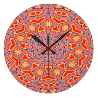 Grande Horloge Ronde Motif de mosaïque multi de couleur d'arrière -