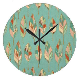 Grande Horloge Ronde Motif de plume d'aquarelle d'étape   de Geo de