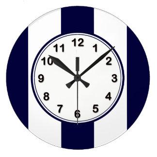 Grande Horloge Ronde Motif de rayure d'extra large de bleu marine et de