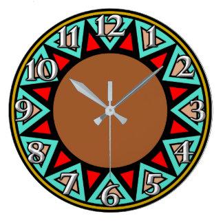 Grande Horloge Ronde Motif de sud-ouest de désert