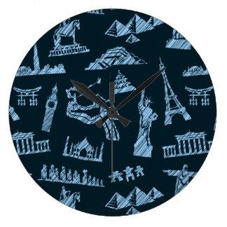 Grande Horloge Ronde Motif de voyage dans le motif de bleus