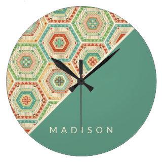 Grande Horloge Ronde Motif d'hexagone de sud-ouest d'étape   de Geo de