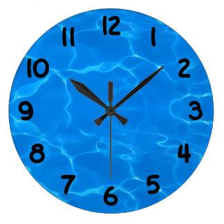 Grande Horloge Ronde Motif d'ondulations de l'eau