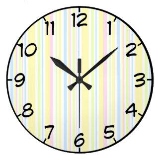 Grande Horloge Ronde Motif en pastel Girly mignon de rayure verticale