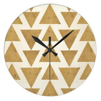 Grande Horloge Ronde Motif géométrique de Geo d'or extérieur d'étape  