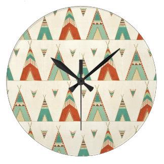Grande Horloge Ronde Motif géométrique de Teepee d'étape   de Geo de