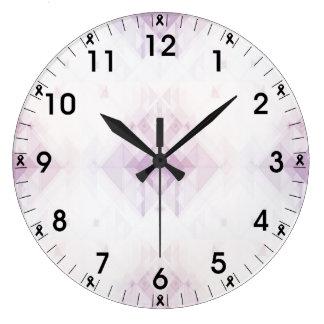 Grande Horloge Ronde Motif géométrique rose-clair