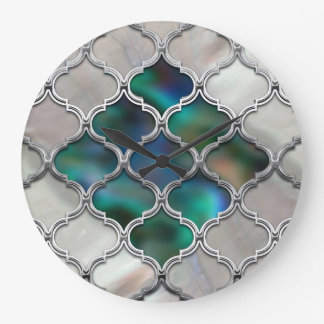 Grande Horloge Ronde Motif marocain sur la perle et la coquille de