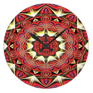 Grande Horloge Ronde Motif moderne d'abrégé sur rouge