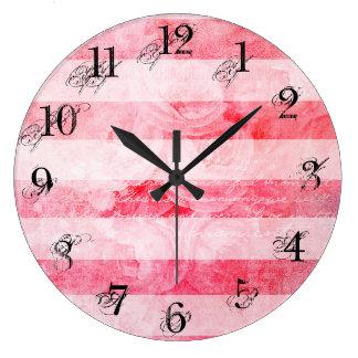 Grande Horloge Ronde Motif rose de rayure de vieux cru rose romantique