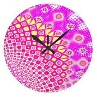Grande Horloge Ronde Motif rose et blanc abstrait