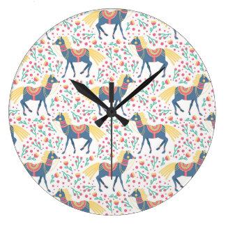 Grande Horloge Ronde Motif sans couture de vecteur floral de chevaux de