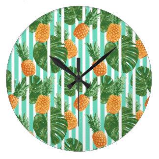 Grande Horloge Ronde Motif sans couture de vecteur tropical vintage