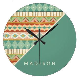 Grande Horloge Ronde Motif tribal d'aquarelle d'étape   de Geo de