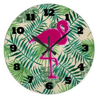 Grande Horloge Ronde Motif tropical de feuille et flamant rose