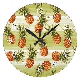 Grande Horloge Ronde Motif tropical orange vert de fruit d'ananas