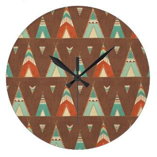 Grande Horloge Ronde Motif turquoise de Teepee d'étape   de Geo de
