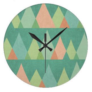 Grande Horloge Ronde Motif turquoise de triangle d'étape   de Geo de