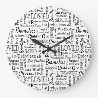 Grande Horloge Ronde Mots chrétiens inestimables de l'affirmation