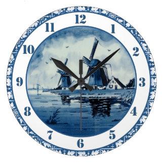 Grande Horloge Ronde Moulin à vent bleu de bleu de Delft