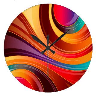 Grande Horloge Ronde Mouvement giratoire multi de couleur d'arrière -