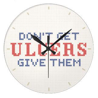 Grande Horloge Ronde N'attrapez pas les ulcères