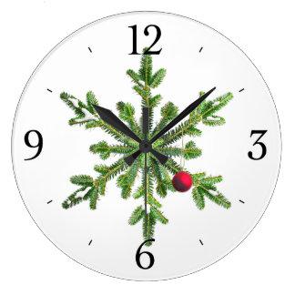 Grande Horloge Ronde Noël de flocon de neige de pin de Milou