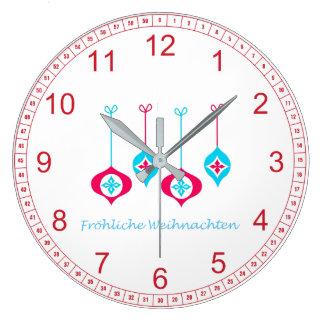 Grande Horloge Ronde Noël de rouge bleu ornemente Fröhliche Weihnachten