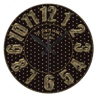 Grande Horloge Ronde Noir et nombre de pois d'or grand