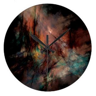Grande Horloge Ronde Noir foncé abstrait et motif bleu