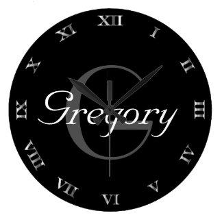Grande Horloge Ronde Nom et initiale gris et blancs de monogramme sur