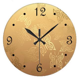 Grande Horloge Ronde Nombres d'or de motif de papillons